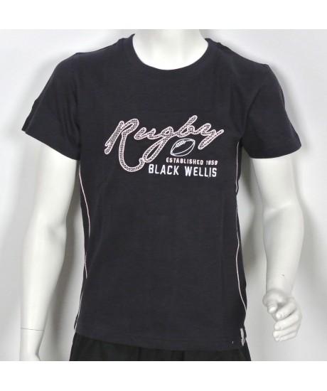 Tee Shirt Black Wellis Rugby Junior Marine