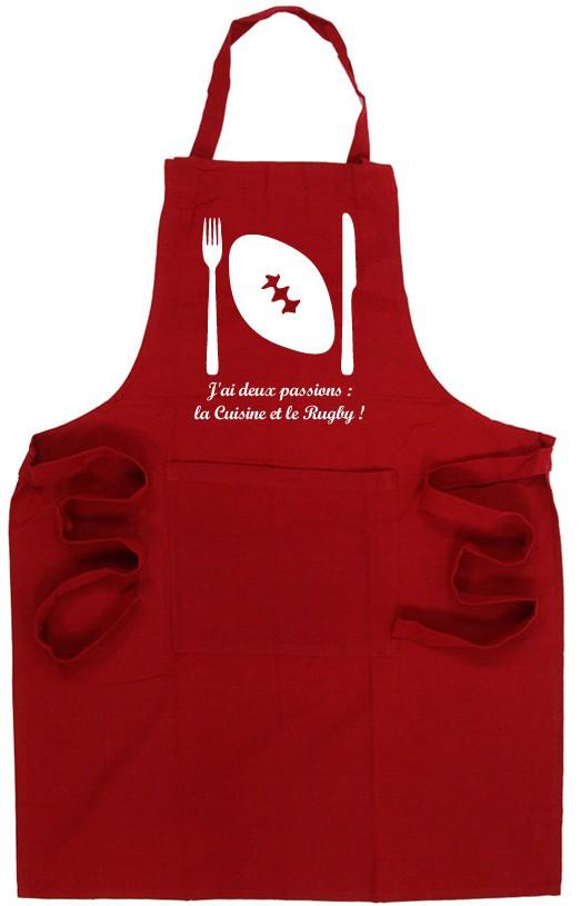 Tablier de cuisine rugby ballon rouge blanc esprit rugby for Tablier cuisine humour