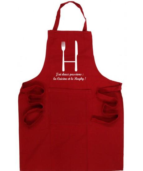 Tablier de cuisine rugby poteaux rouge blanc esprit rugby for Tablier de cuisine humour