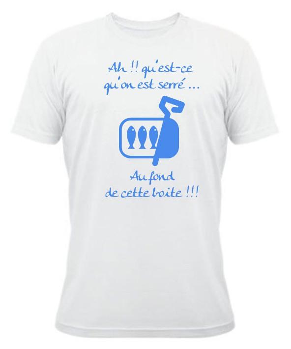 Tee Shirt Rugby Humour Les Sardines Blanc Bleu Esprit