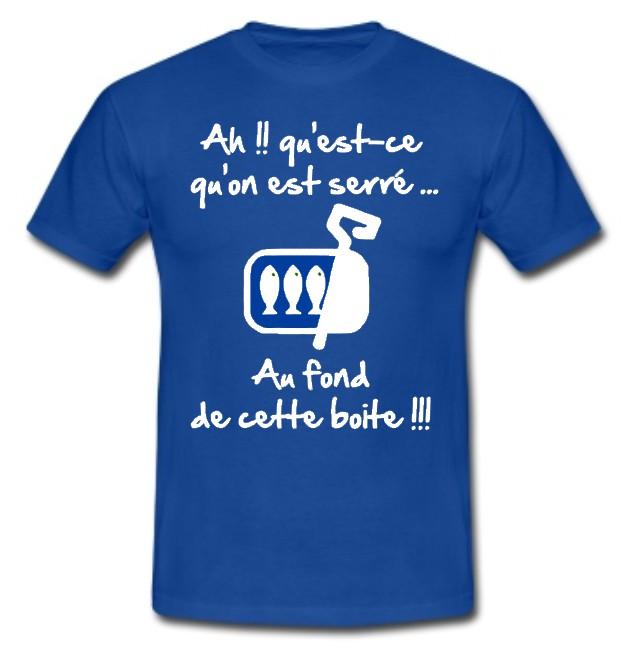 Tee Shirt Rugby Humour Les Sardines Bleu Blanc Esprit