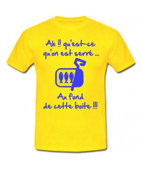 """Tee shirt rugby humour """"Les Sardines"""" Jaune/Bleu"""