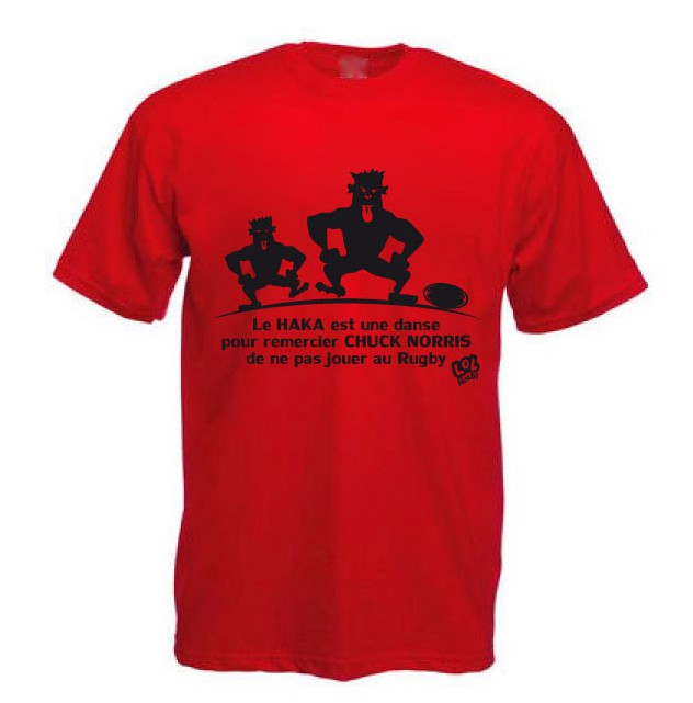Tee Shirt Rugby Humour Chuck Norris Haka Rouge Noir