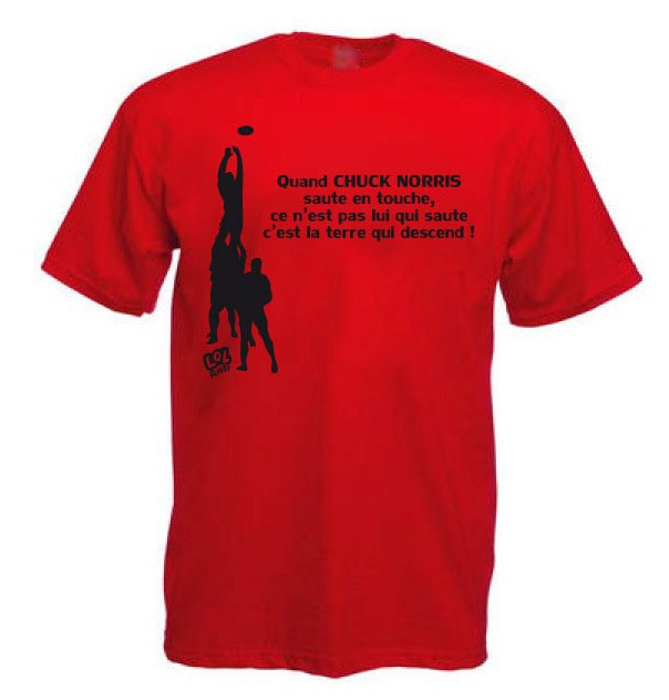 Tee Shirt Rugby Humour Chuck Norris Touche Rouge Noir