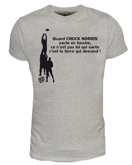 tee shirt rugby humour chuck norris touche gris noir