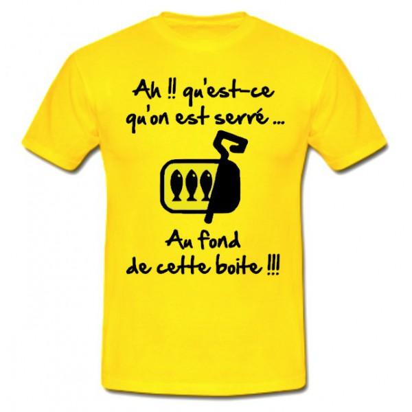 Tee Shirt Rugby Humour Les Sardines Jaune Noir Esprit