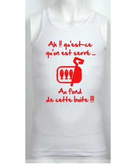 "Débardeur Junior ""Sardines"" Blanc/Rouge"