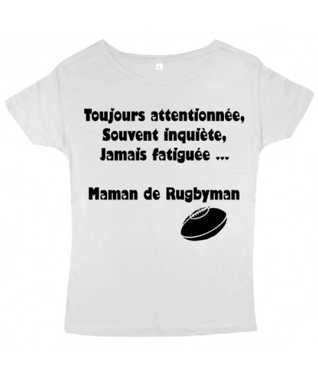 """Tee shirt femme """"Maman de Rugbyman"""" Blanc/Noir"""