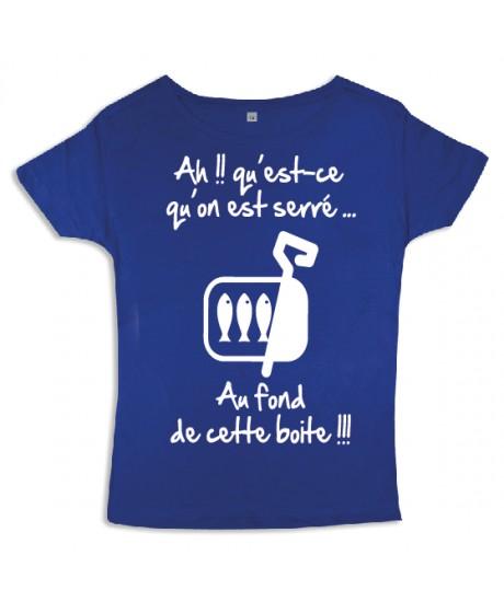 "Tee shirt femme 3ème mi-temps ""Sardines"" Bleu/Blanc"