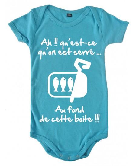 "Body bébé 3ème mi temps humour ""Sardines"" Bleu/Blanc"