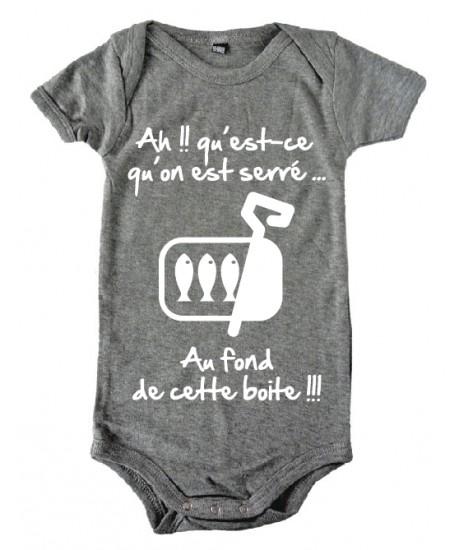 """Body bébé 3ème mi temps humour """"Sardines"""" Gris/Blanc"""