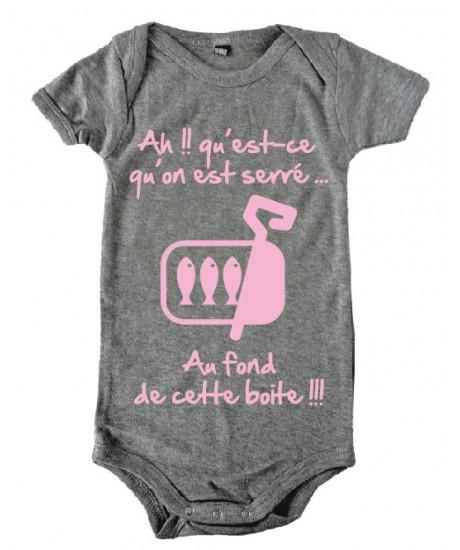 """Body bébé 3ème mi temps humour """"Sardines"""" Gris/Rose"""