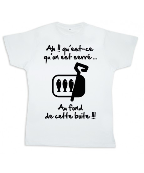 "Tee shirt Rugby bébé ""Sardines"" Blanc/Noir"