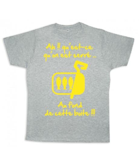 """Tee shirt Rugby bébé """"Sardines"""" Gris/Jaune"""