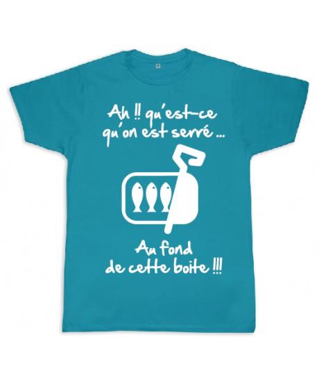 "Tee shirt Rugby bébé ""Sardines"" Turquoise/Blanc"