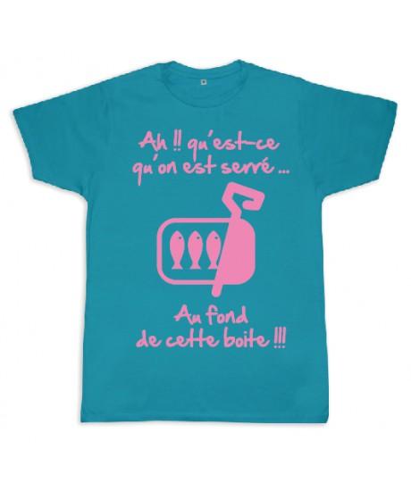 "Tee shirt Rugby bébé ""Sardines"" Turquoise/Rose"
