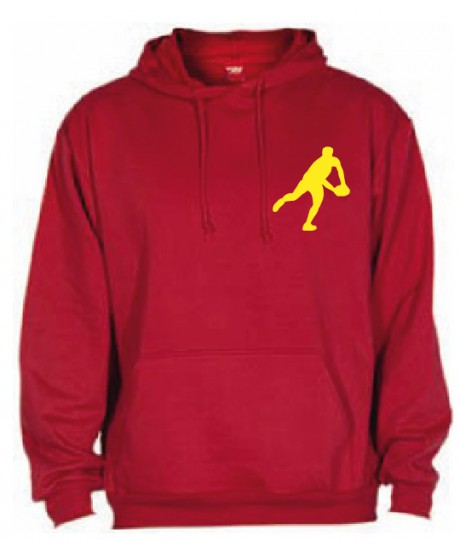 Sweat Capuche Rugby Essentiels Rouge