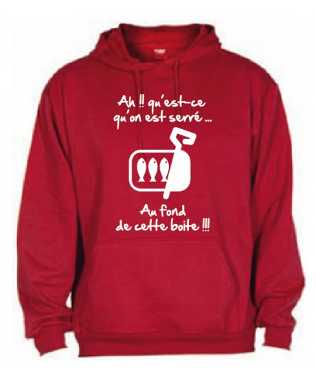 "Sweat Capuche ""Sardines"" Rouge"