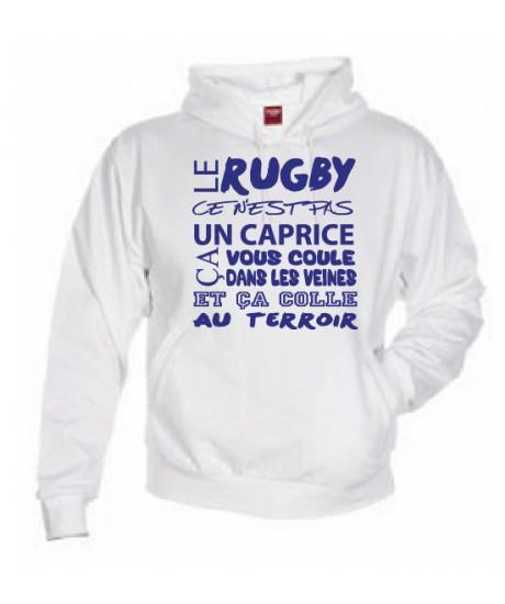Sweat Capuche Rugby Terroir Blanc
