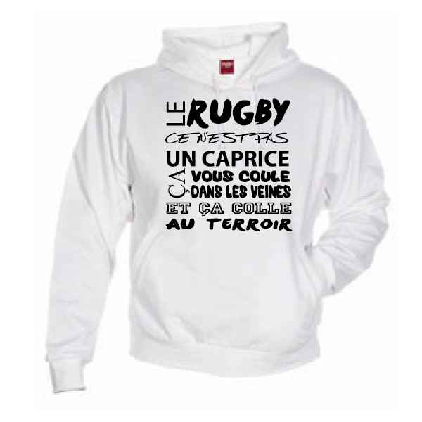 sweat capuche rugby terroir blanc esprit rugby. Black Bedroom Furniture Sets. Home Design Ideas