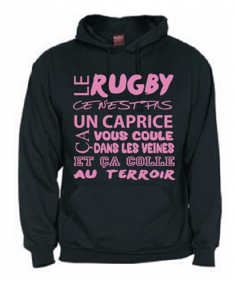Sweat Capuche Rugby Terroir Noir