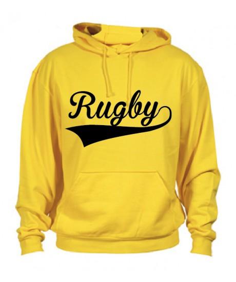 Sweat capuche Rugby Jaune