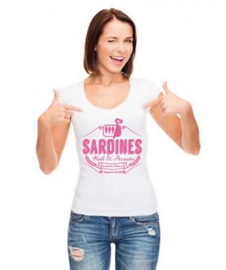 Tee Shirt femme Sardines 2 Blanc
