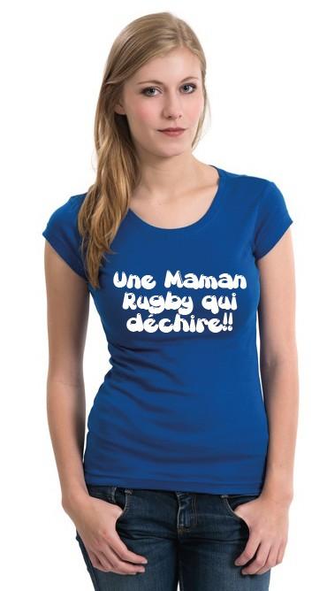 tee shirt maman rugby qui d chire bleu esprit rugby. Black Bedroom Furniture Sets. Home Design Ideas