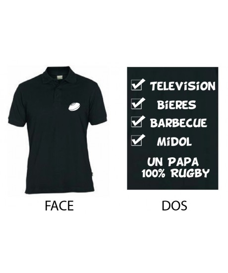 Polo Un Papa 100 % Rugby Noir