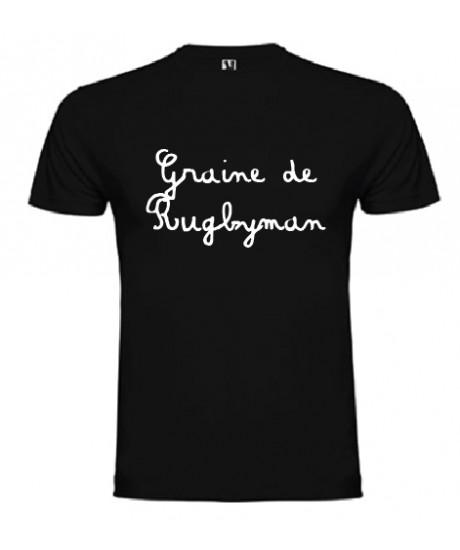 Tee shirt bébé Graine de Rugbyman Noir