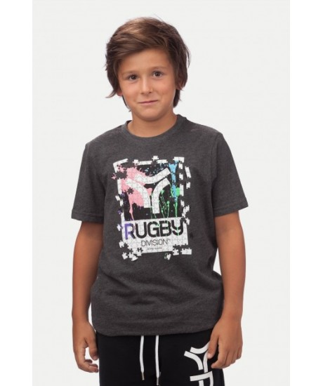 "Tee Shirt Junior Rugby Division  ""PUZZLE"" Noir Chiné"