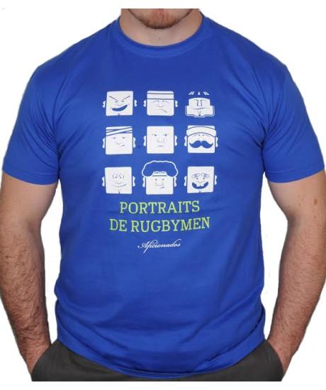 """Tee shirt Aficionados """"PORTRAITS DE RUGBYMEN"""" Bleu Royal"""
