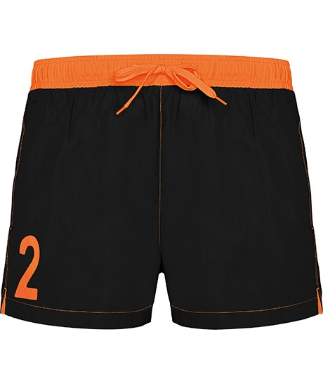 Short de Bain N°2 Orange et Noir