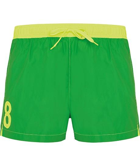 Short de Bain N°8 Vert et Jaune
