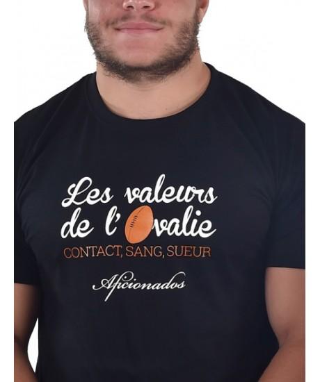 "Tee shirt Aficionados ""VALEURS"" Noir"