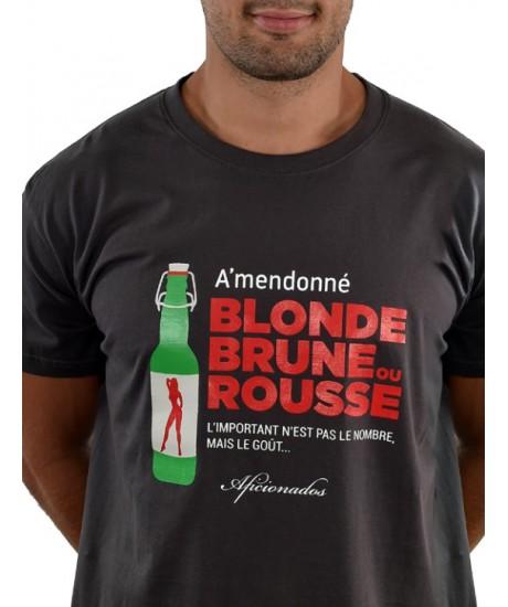 """Tee shirt Aficionados """"FEMME6"""" Gris Foncé"""
