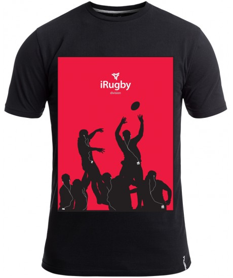 "Tee Shirt Rugby Division ""IRUGBY""  Noir"