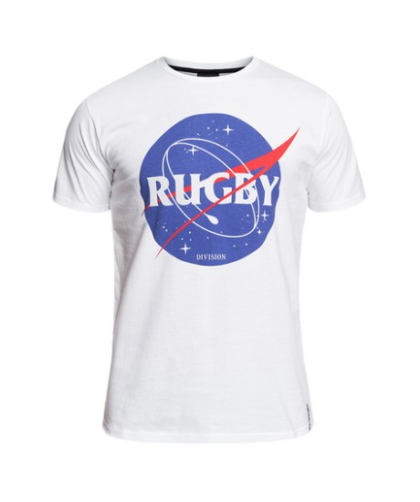 "Tee Shirt Rugby Division "" SPACE"" Blanc"