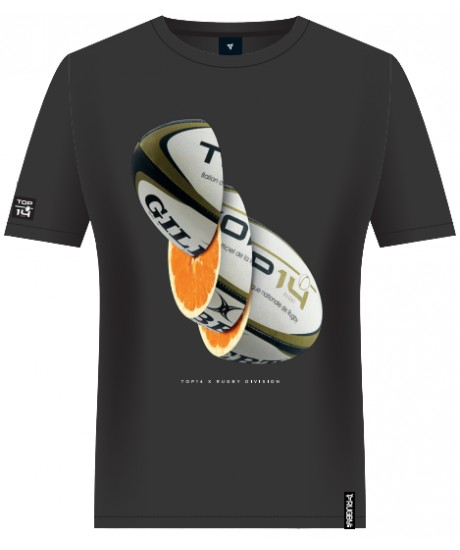 "Tee Shirt Rugby Division ""ORANGE""Noir"