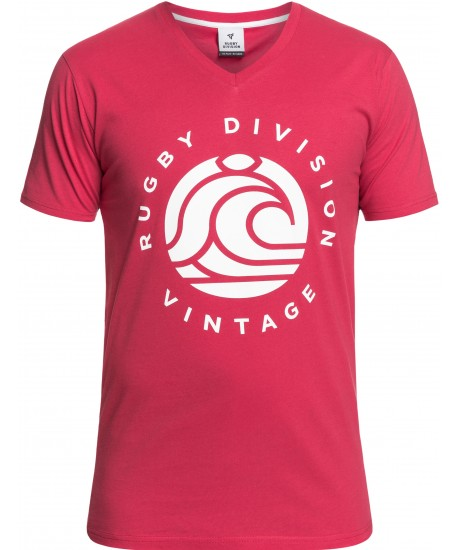 """Tee Shirt Rugby Division """"WAVE"""" Framboise"""