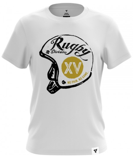 "Tee Shirt Rugby Division ""HELMET"" Blanc"
