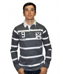 Polo Black Wellis rayé gris/noir