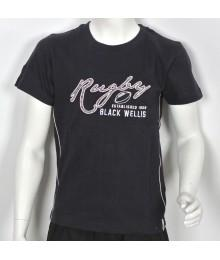 Tee Shirt Black Wellis Rugby Junior Marine