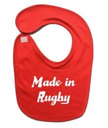 "Bavoir bébé ""Made in Rugby"" Rouge/Blanc"