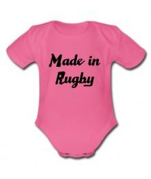 "Body bébé ""Made in Rugby"" Rose/Noir"