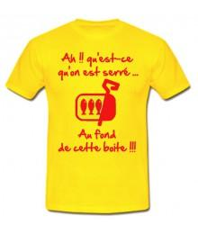 "Tee shirt rugby humour ""Les Sardines"" Jaune/Rouge"