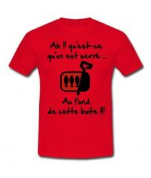 "Tee shirt Rugby Humour ""Les Sardines"" Rouge/Noir"