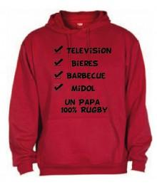 "Sweat Capuche ""Papa 100 % Rugby"" Rouge"