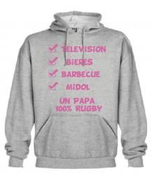 "Sweat Capuche ""Papa 100 % Rugby"" Gris"