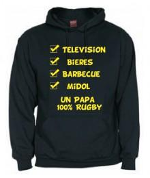 "Sweat Capuche ""Papa 100 % Rugby"" Noir"
